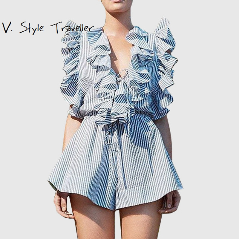 8d8d3c50292 Stripes Ruffles Playsuit Women Lace Up Flounce Tank Tops Red Blue White  Flare Boot Cut Shorts IG Boho Overall Wide Leg Jumpsuit