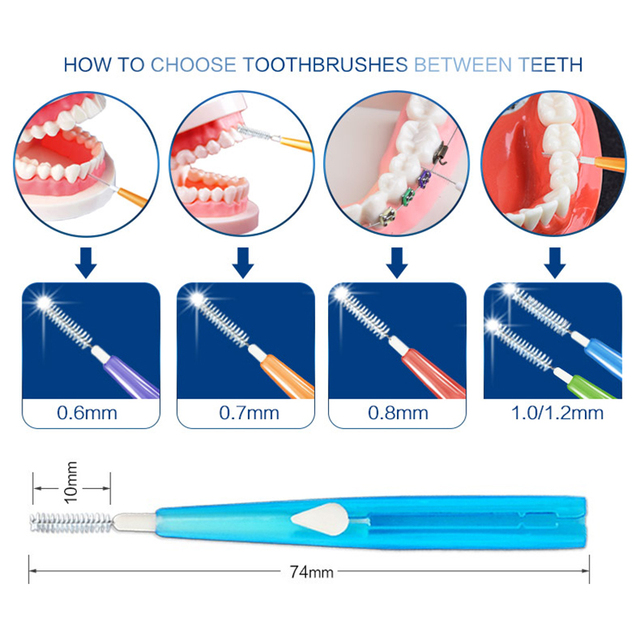 10Pcs Dental Oral Hygiene Push-pull Interdental Brush Adults Tooth Cleaning Floss Brush Tooth Pick 5 Size Brush Head 0.6mm 1.2mm