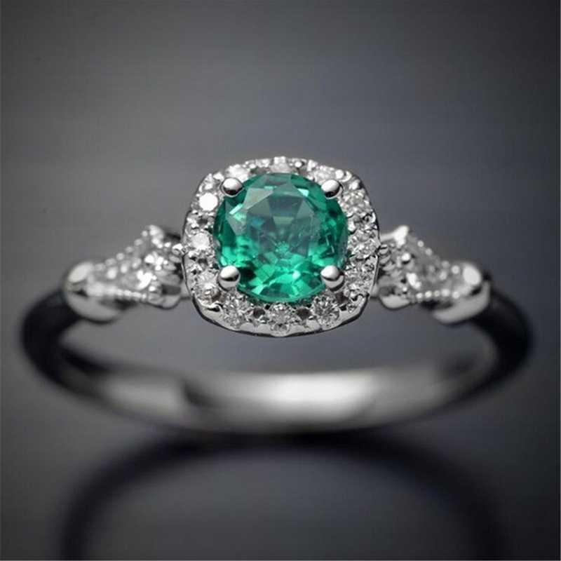แหวนขนาดใหญ่สีเขียวโอปอลหินโบราณสีเขียว + แหวนเงินผู้หญิง Retro Texture แกะสลัก Love แหวนแหวน