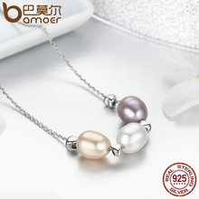 New Collection Genuine 925 Sterling Silver Freshwater Pearl Necklace