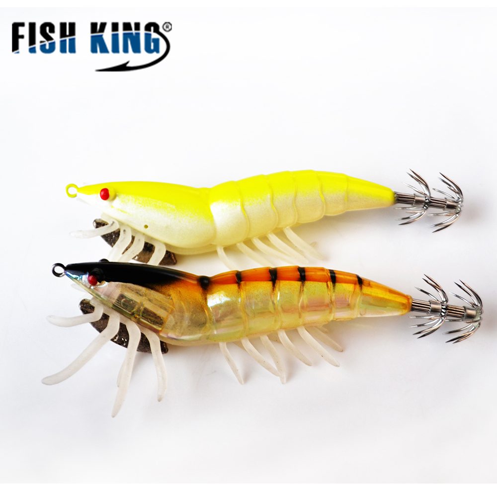 FISH KING Fishing Lure Artificial Squid Hook Jigs 1PC 2 Colors Lead Weight 4g noctilucent Octopus Cuttlefish Shrimp Bait Pesca 24pcs luminous squid jigs bait octopus cuttlefish shrimp baits 10 1cm artificial fishing hard lures for octopus pesca tools