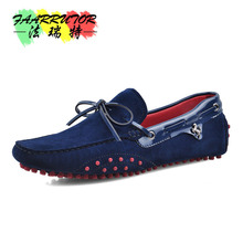 Brand New US6-11 Big Size 45 Cow Suede Leather Mens Lace Up Loafers Casual Driving Car Shoes Moccasin Boat