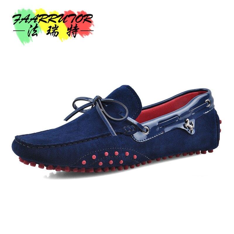 Nuevo US 6 11 gran tamaño 45 cuero de ante de vaca para hombre cordones mocasines Casual zapatos de coche de conducción mocasines zapatos de barco-in Zapatos náuticos from zapatos    1