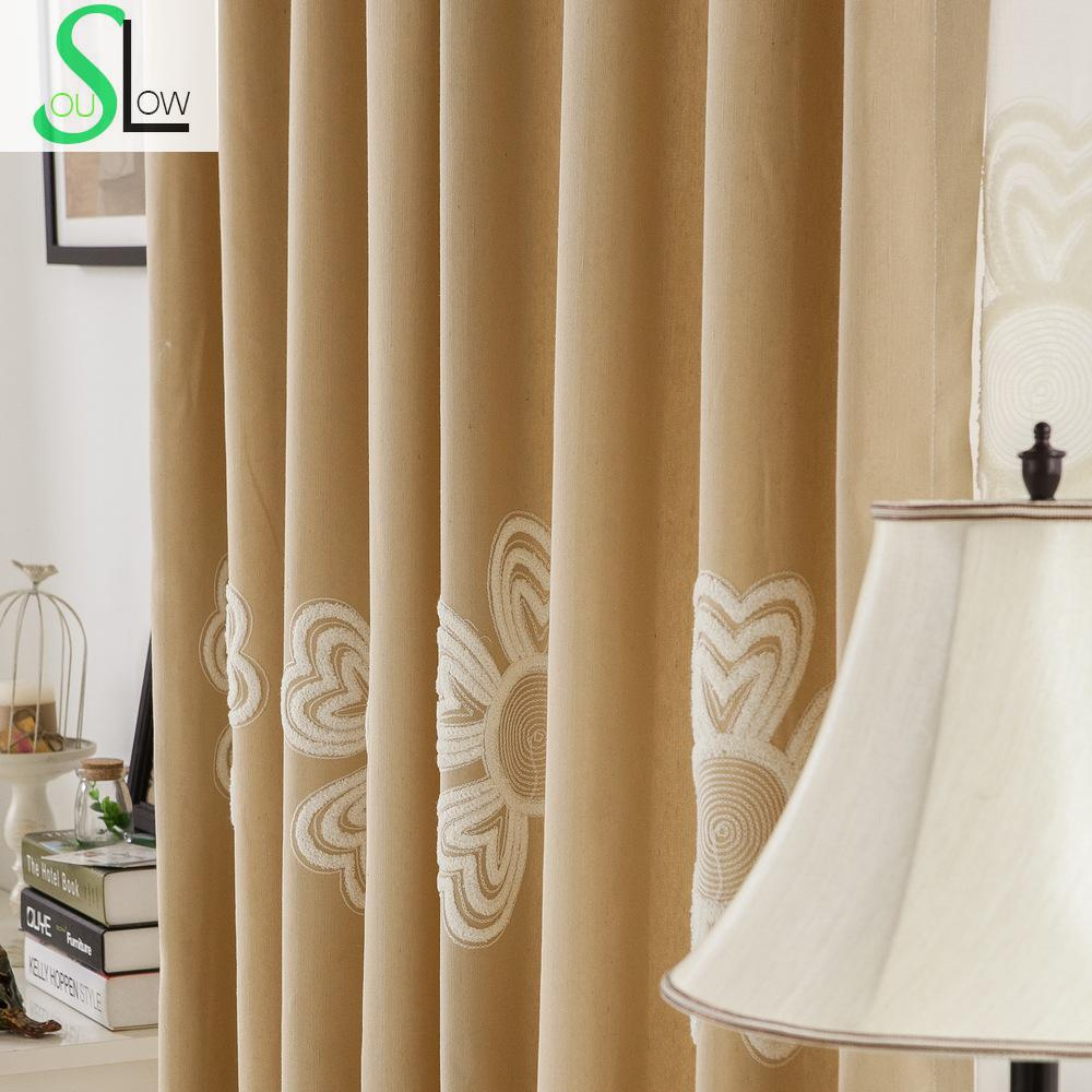 Floral cotton yarn curtain fabric embroidered curtains for Living room curtain fabric