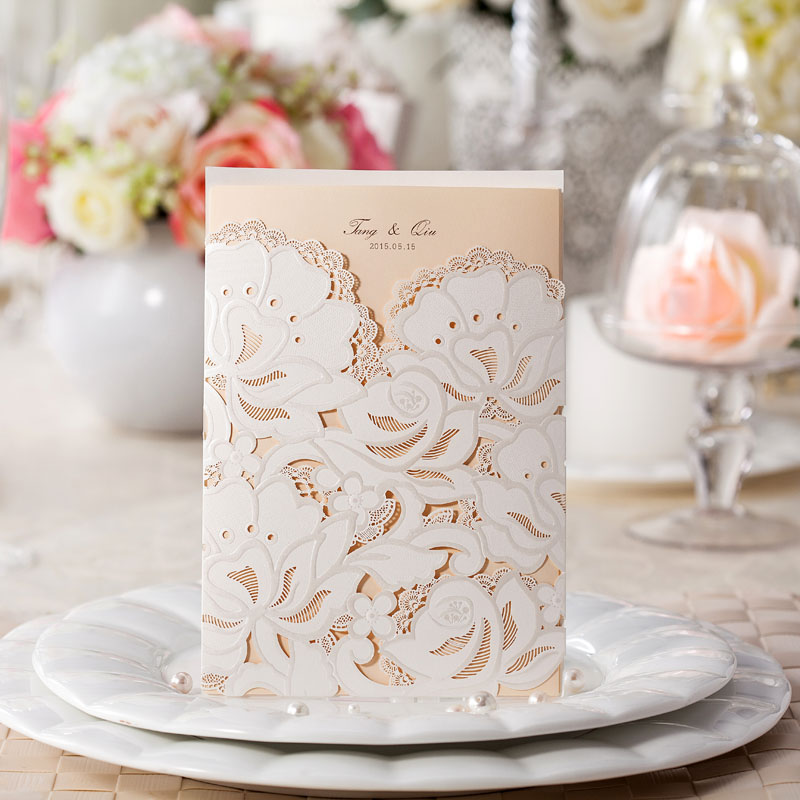 Popular Elegant Wedding Invitation Laser Cut Custom PrintBuy – Custom Printed Wedding Invitations