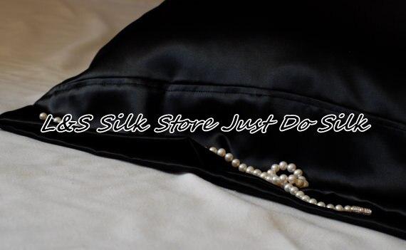 Бесплатная доставка чистого шелка Наволочка стандартный размер черный charmuse, хорошо для кожи и волос Средства ухода за мотоциклом Стандартн...