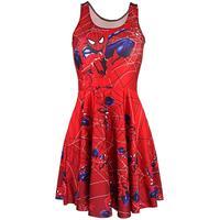 New Red Spider Man Sexy Women Tennis Sports Pleated Dress Vogue Slim Elastic Red Girls Skater