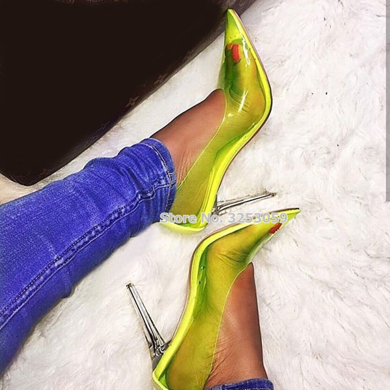 Detail Feedback Questions about ALMUDENA Young Girls Candy Color PVC Clear  Heel Dress Pumps Stiletto Heels Neon Yellow Transparent Pointed Toe Dress  Shoes ... 237db4f78c1a