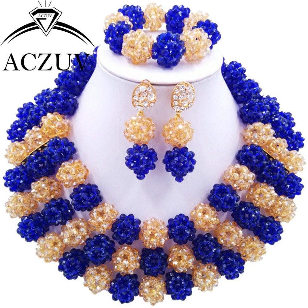 Costume Black Women African Beads Jewelry Set Wedding Bridal Necklaces Royal Blue Gold AB AN032 ab 47b black