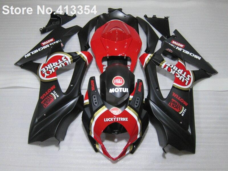Aftermarket body parts fairings for Suzuki GSXR 1000 07 08 red black fairing kit GSXR1000 2007 2008 RY23