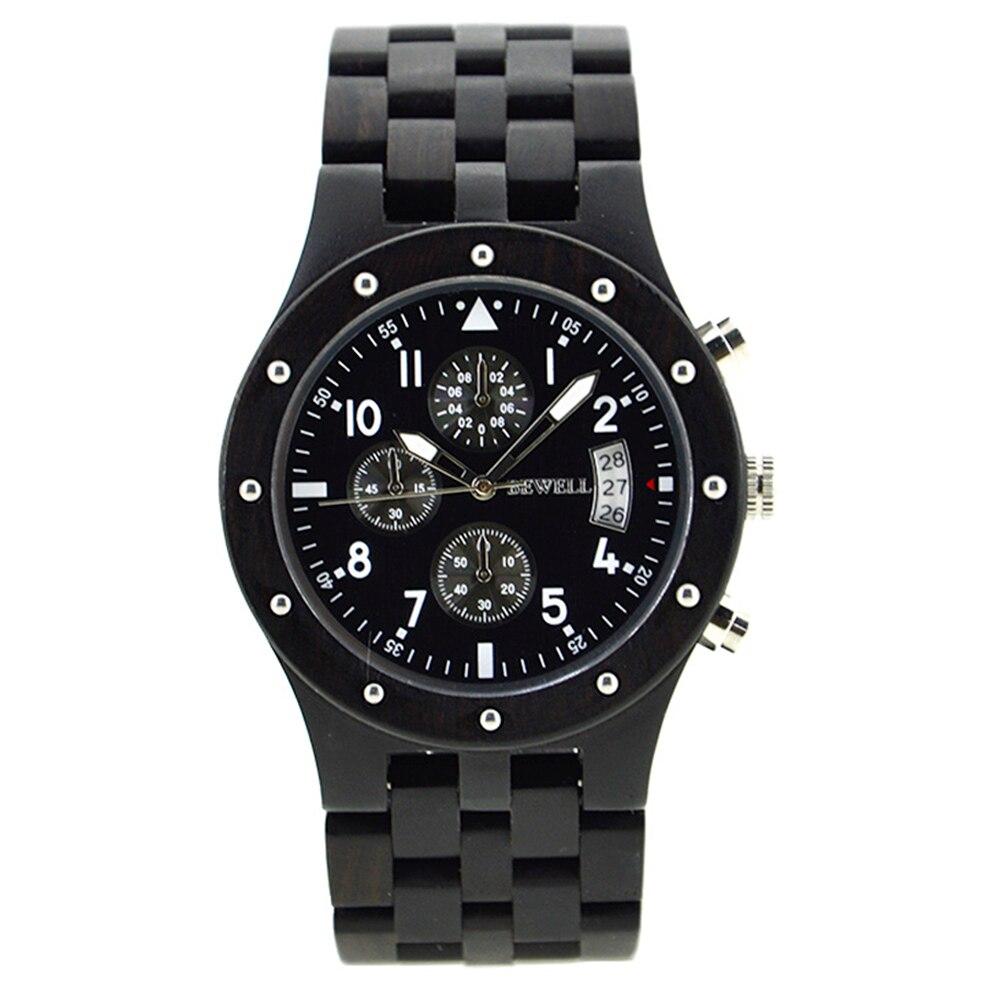 BEWELL Top marque hommes Auto Date bois montres homme chronomètre et hommes mains lumineuses analogique Quartz horloge Relogio Masculino 109D - 3