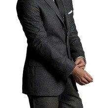 Специальное предложение: темно-серые мужские костюмы из чистой шерсти на заказ роскошные удобные деловые костюмы из шерсти для мужчин костюмы жениха на заказ