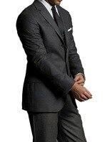 Специальное предложение: темно серый чистая шерсть Мужские костюмы под заказ сделаны роскошные удобные 100% деловые костюмы для мужчин заказ...