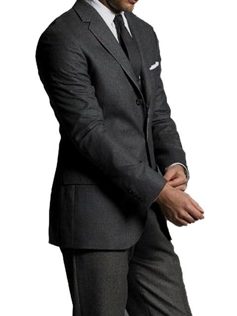 Speciale Aanbieding: donkergrijs Zuivere WOL Mannen Suits Custom Made Luxe Comfortabele 100% WOL Pakken Voor Mannen Bespoke Bruidegom Suits