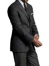 Özel teklif: koyu gri saf yün erkek takım elbise özel yapılmış lüks rahat % 100% yün iş elbisesi erkekler için ısmarlama damat takım elbise