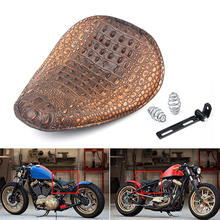 Universal Black Brown Motorcycle Seat Alligator Bobber Motorcycles Leather Solo Driver Spring Kit For Harley Custom Chopper