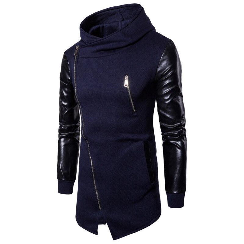 Men's hoodies cotton Casual hoodies Sleeves Leather Fashion Irregular Hoodie sweatshirt men mens hooded jackets cardigan zipper