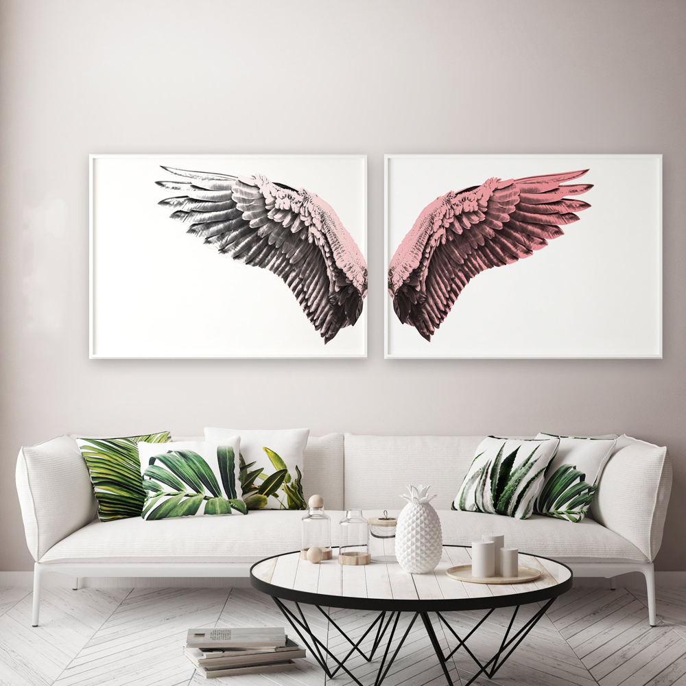 Modern Contemporary Black White Design Feather Angel Wings Art Prints Posters On Canvas Wall Pictures For Living Room Decoration in Painting Calligraphy from Home Garden