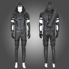 Full set PU Cotton Custom made!Arrow S4 Oliver Queen Cosplay Costume Halloween Costume for Men Women Free shipping