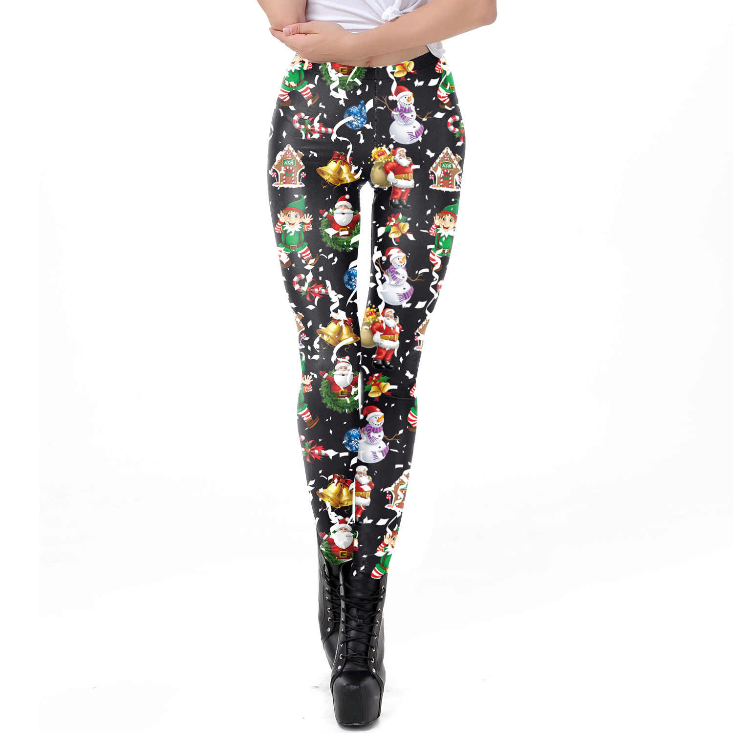 01783d8d86d0e8 2018 Christmas Santa Claus Print Fitness Leggings Women Sexy Slim Leggings  High Waist Elastic Causal Leggings