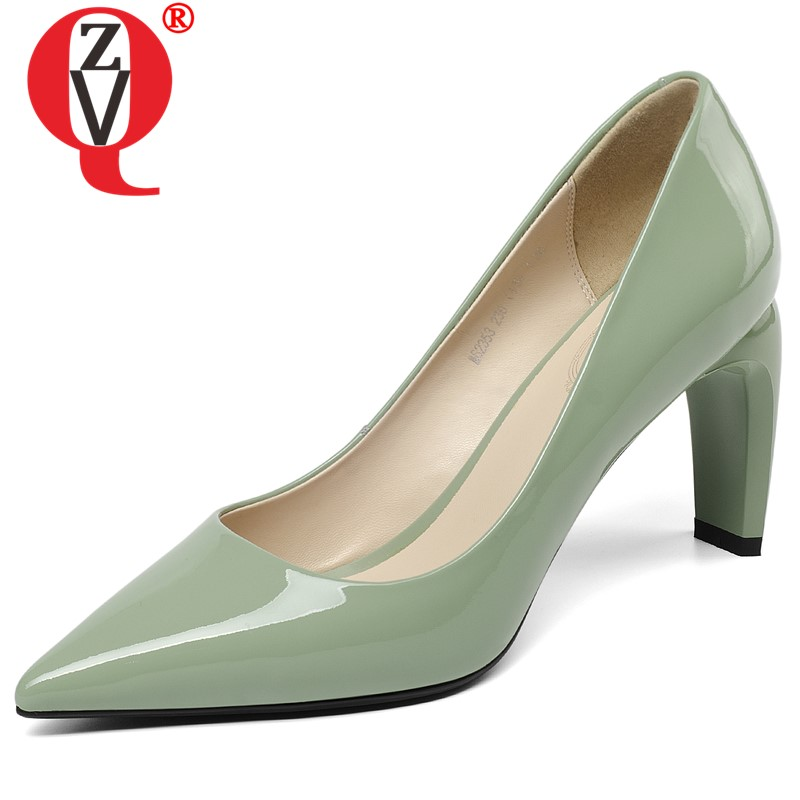 ZVQ shoes woman spring newest fashion shallow geuine leather women high heels shoes pointed toe 8