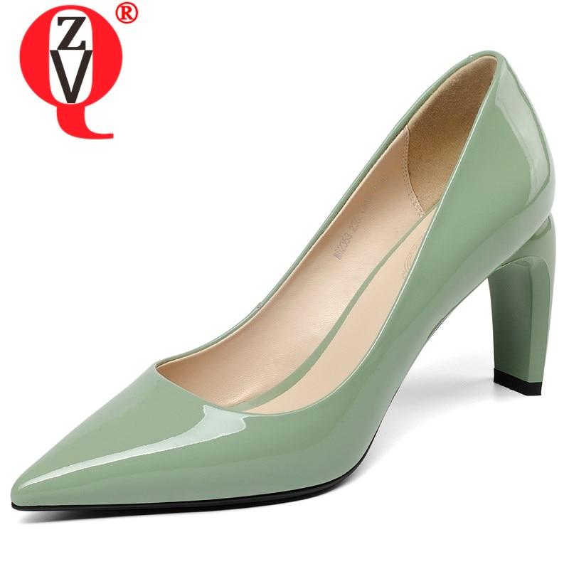 ZVQ zapatos mujer primavera última moda cuero geuine mujeres tacones altos zapatos punta puntiaguda 8 cm estilo extraño slip  en los zapatos-in Zapatos de tacón de mujer from zapatos    1