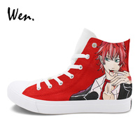 Wen Hand Painted Diabolik Lovers Anime Shoes Man Woman S Sport Sneakers Custom Design Red Painting