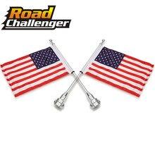 Мотоцикл заднего бокового крепления флага полюс автомобиля-Стайлинг хром американский флаг для Harley Sportster XL 883 1200 багажная стойка