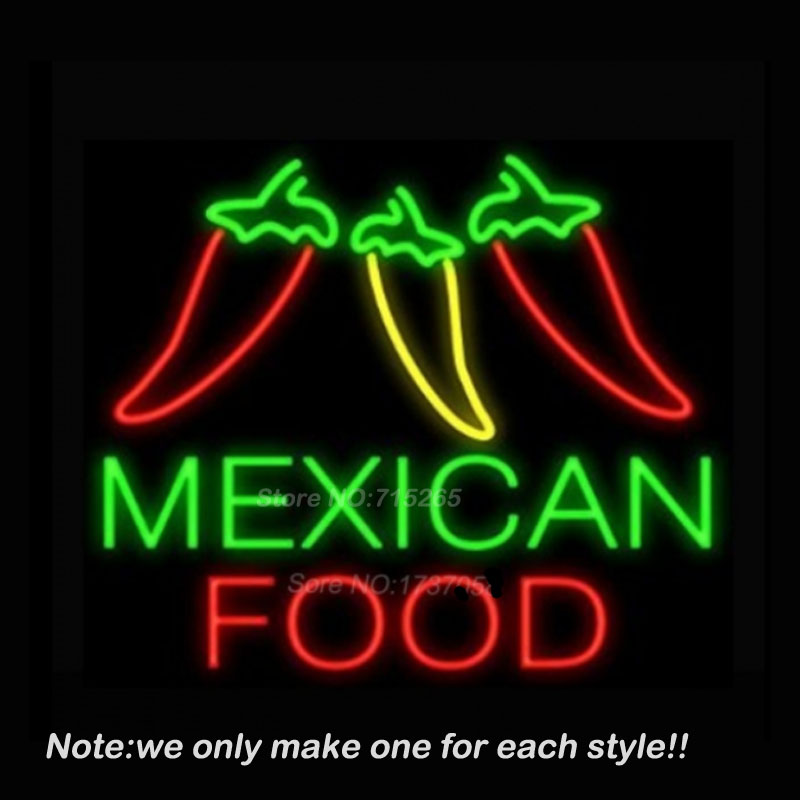 Mexican Food Three Peppers Neon Sign Recreation Room Windows Handcraft Neon Bulbs Real Glass Tube Store Display Beer VD 17x14