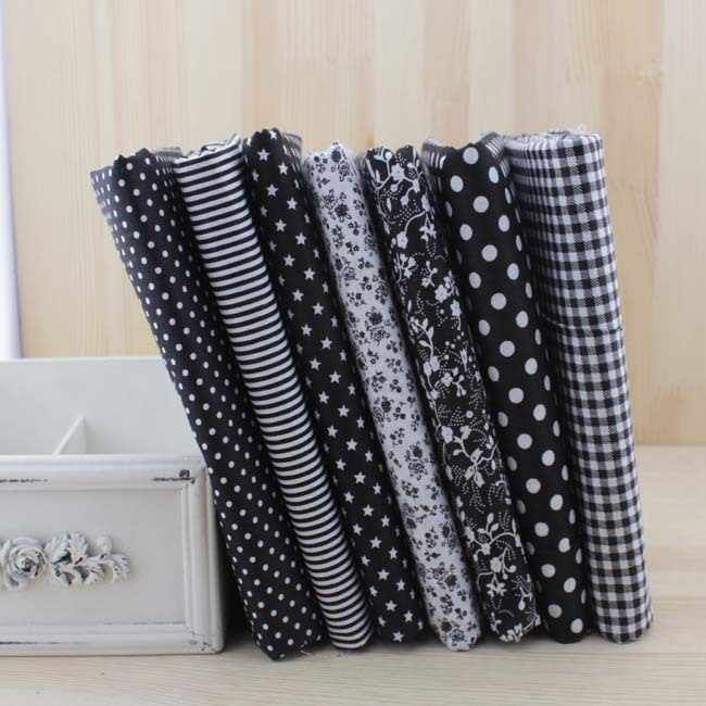 Booksew 7pcs 50cmx50cm Black  Cotton Patchwork Fabric For DIY Sewing Quilting Craft Tilda Doll Baby Cloth Textiles