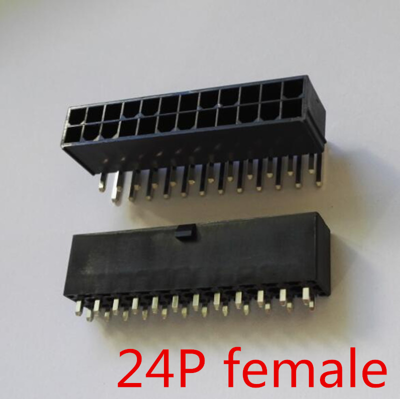 4.2mm Black 24P Female Socket Straight Or Curved Needle For PC Computer ATX Motherboard Power Connector Plastic Shell Housing