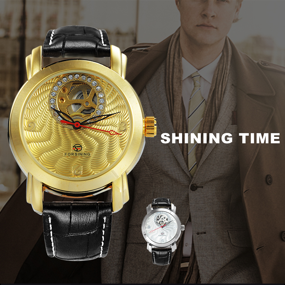 FORSINING Top Marke Luxus Männer Auto Mechanische Uhr Skeleton Zifferblatt Golden Royal Mode Lederband Handgelenk Uhren für Mann