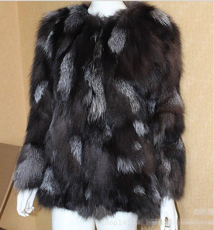 96bea077c5125 Best Thick Natural Silver Fox Fur Coats Jackets Women Real Genuine Fur  Garment Outerwear Women Plus Size 5XL Brown Furs Coats