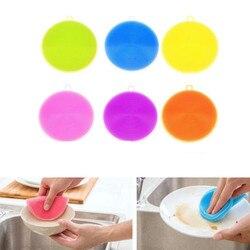 1 STÜCK Magie Silikon Spülbürste Durable Bowl Reinigungsbürsten Scheuerschwamm Pan Pot Waschlappen Reinigungstuch Küche Zubehör 8 farbe
