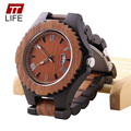 TTLIFE Mens Bangle Wood Watches Analog Date Folding Clasp Japan Quartz Casual Wooden Wristwatch Relogio Masculino With Metal Box