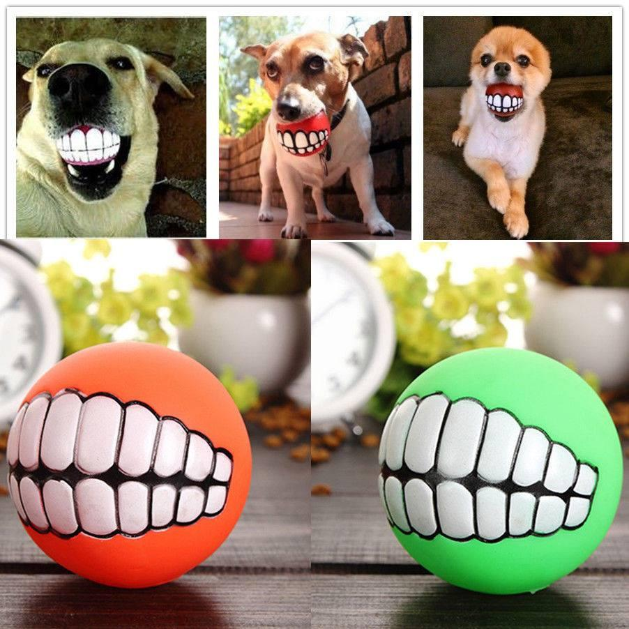 Funny Pets Dog Puppy Cat Ball Teeth Toy PVC Chew Sound Dogs Play Fetching Squeak Toys