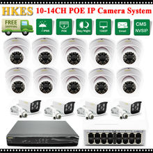 1080P 2MP Bullet IP Digicam POE Swap 14CH Video Safety Surveillance System 16Ch 1080P NVR Recorder System Package 16 CH