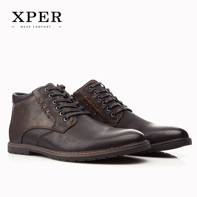 XPER Brand Autumn Winter Men Shoes Boots Casual Fashion High-Cut Lace-up With Fur Warm Hombre #YM86912BR