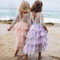 2 6Y Lace Cake Tutu Luxuriant Girls Kids Wedding Flower Girl Dress Princess Party Pageant Dress Long Sleeve Tulle Vestidos