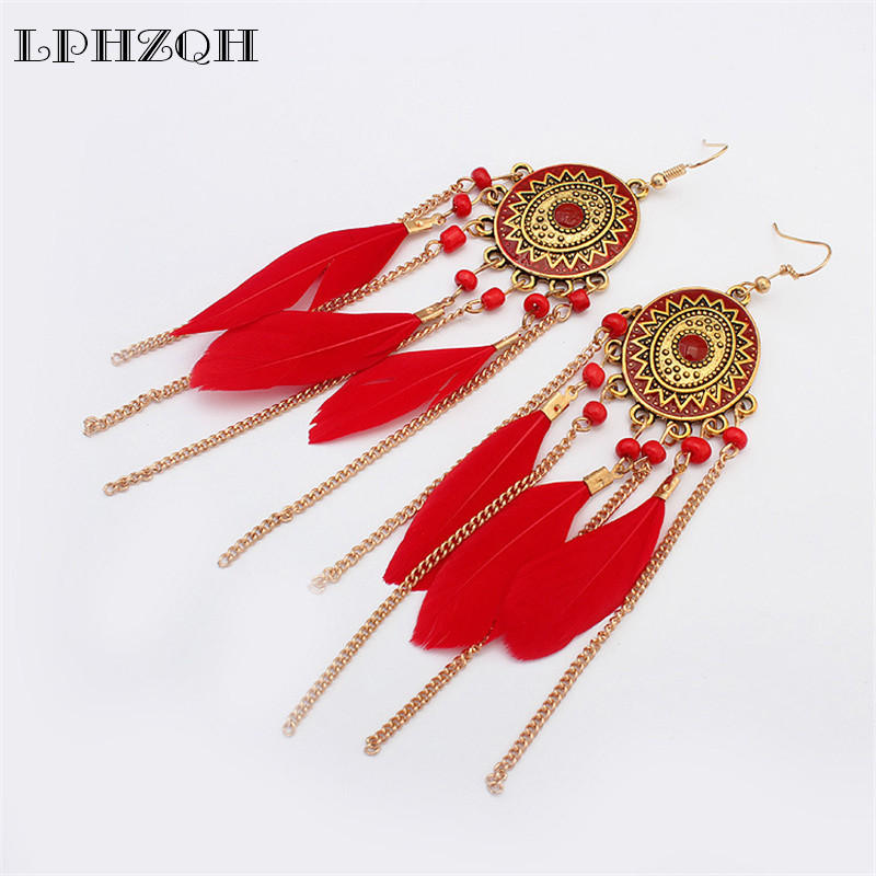 LPHZQH Women Fashion Colorful Jewelery Long Tassel Earings Feather Earrings For Women Dangle Earring Personality Wedding gift