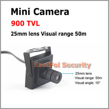 900TVL Mini CCTV camera 25mm lens angle of view 10 degree effective distance of view 0-80m can see the face of people up to 23m