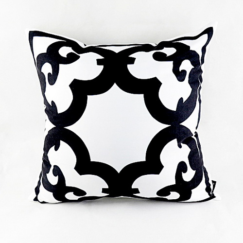 "18 ""* 18"" Home Decor Designer Negro Blanco Abstracto Geométrico Floral Throw Cushion Funda de Almohada para Silla Sofá Regalos de Boda"