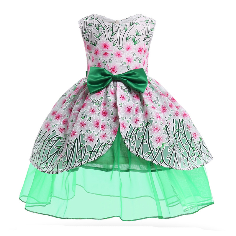 Kids Girls Pettiskirt Lightweigt Female Princess Dress Europe and United States Dawn New Sleeveless Pearl Girls S XL Green Color