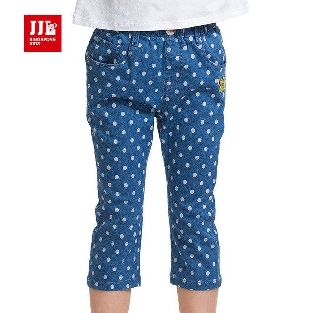 Девушки джинсы летние дети до колен джинсы дети брюки в горошек шаблон childern одежда 2016