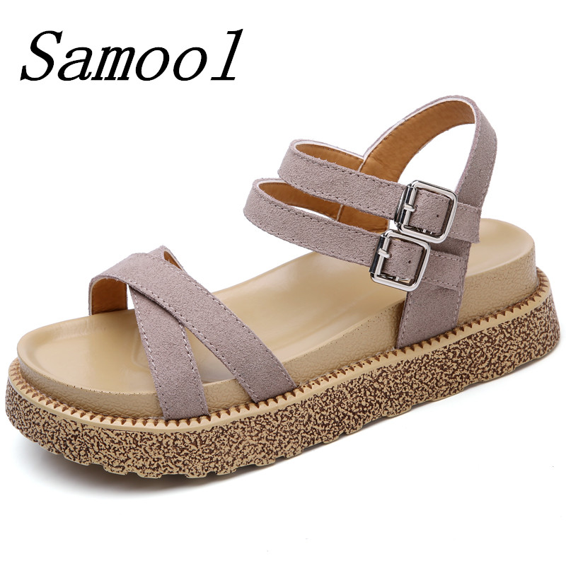 Summer Fashion Women Sandals Flats platform Bohemia Cork Gladiator Beach Shoes Slippers Zapatos Mujer Sandalias Femininas jx3 women sandals 2017 summer shoes woman flips flops gladiator wedges bohemia fashion rivet platform female ladies casual shoes