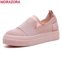MORAZORA Flts EUR ROZMIAR 34-43 Nowych Kobiet Panie Platformy Buty Moda damska Sneakers Skarpetki Buty Okrągłe Toe Płaskie Buty