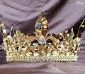 Imperial Medieval Coronas Grandes Llena Rould Tiaras De Oro Para Los Hombres Trajes de Fiesta Del Desfile Crystal Clear Joyería Del Pelo Diadema