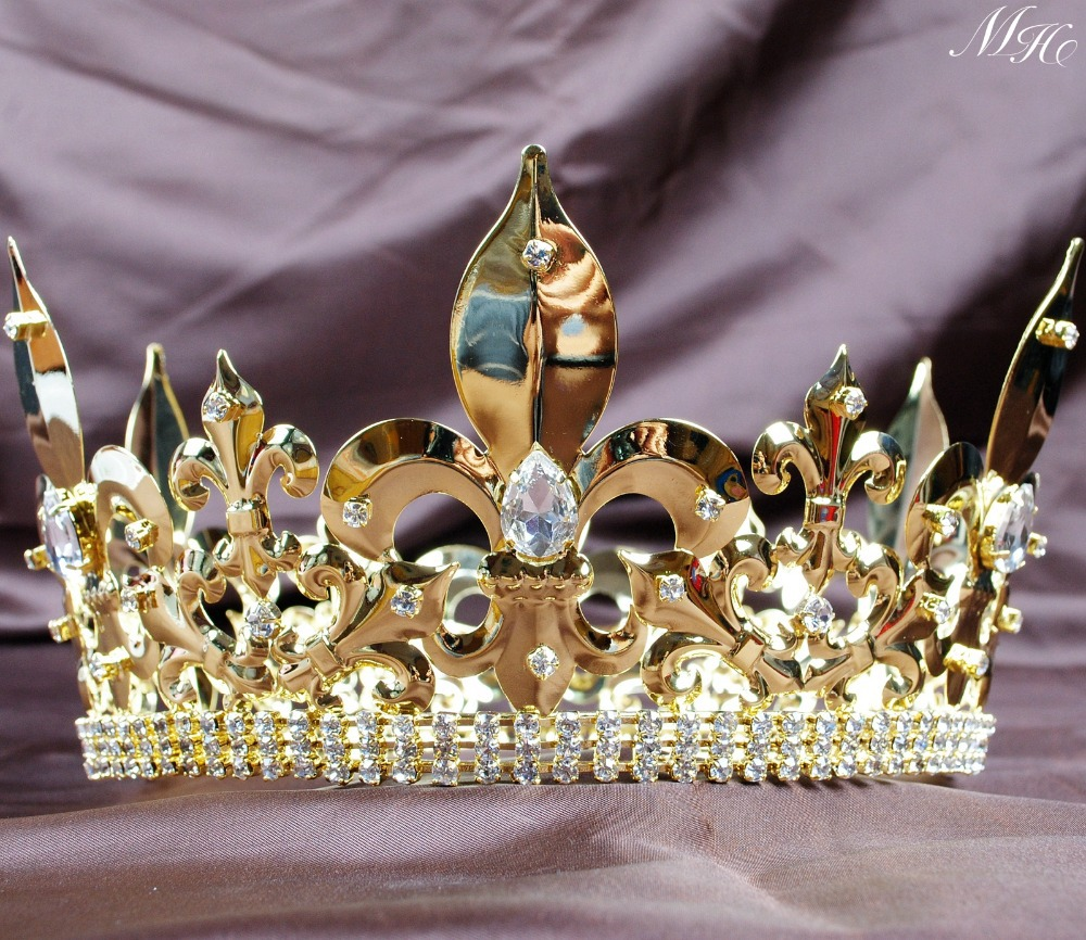US King Imperial Medieval Large Crystal Crowns and Tiaras Full Rould Gold Diadem For Men Tävlingsfest Kostymer Hårsmycken