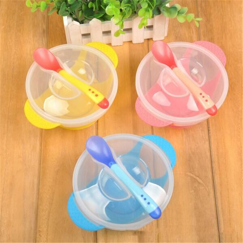1 Set Baby Suction Cup Bowl Temperature Sensing Spoon and Cover Slip-resistant High-quality training materials Dishes for babies