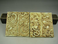 Chinese Hand carved Jade Statues Dragon Tiger Snake Phoenix Ward Off Evil Spirits Good Luck Jade Brand Card 4pcs Set